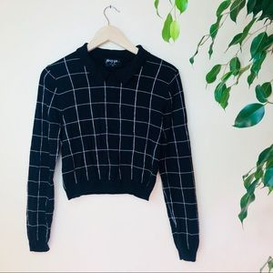 Nasty Gal windowpane cropped collared sweater